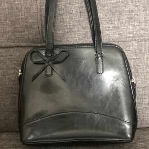 Small black leather handbag